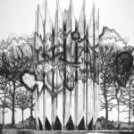"""Monolite 02"" charcoal on paper, 200 x 250 cm, 2015"
