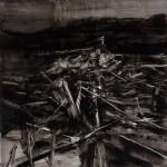 « Tas de bois » Oil on wood,  30x30 cm, 2017