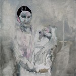 « Mère et enfant » Oil on wood,  30x30 cm, 2017
