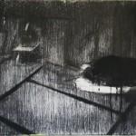 Waiting room II, 40x30 cm, charcoal & acryl on linen, , 2017/18